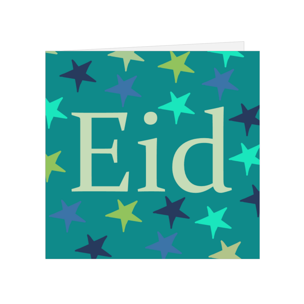 Elaara Eid Mubarak Star Greeting Card - Blue