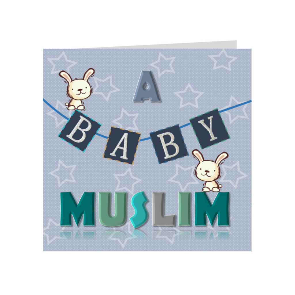 Elaara Baby Bunnies Greeting Card- Blue
