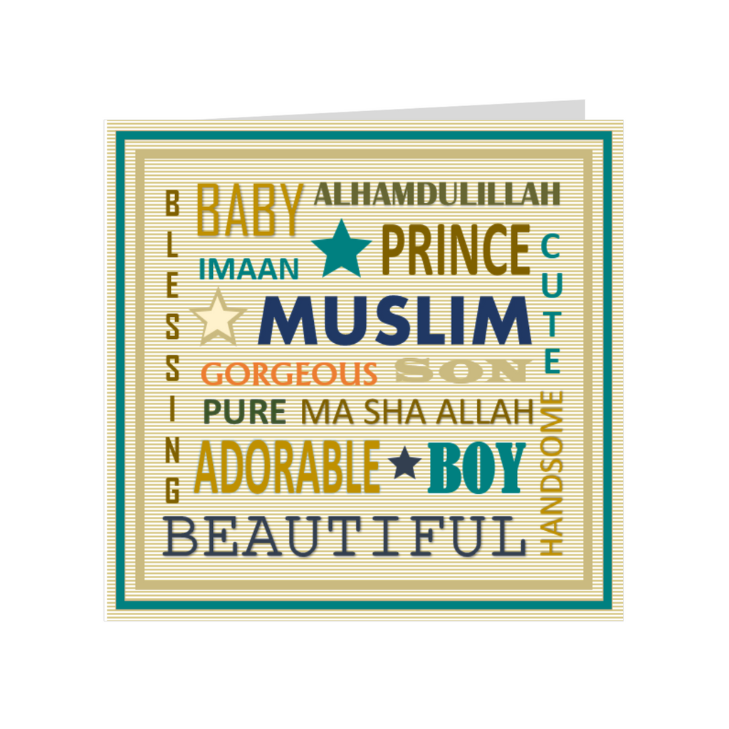 Elaara Urban Baby Greeting Card- Blue