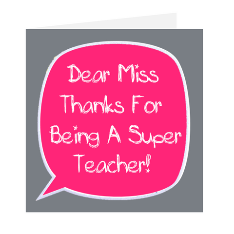 Dear Teacher - Super Teacher Pink and Grey