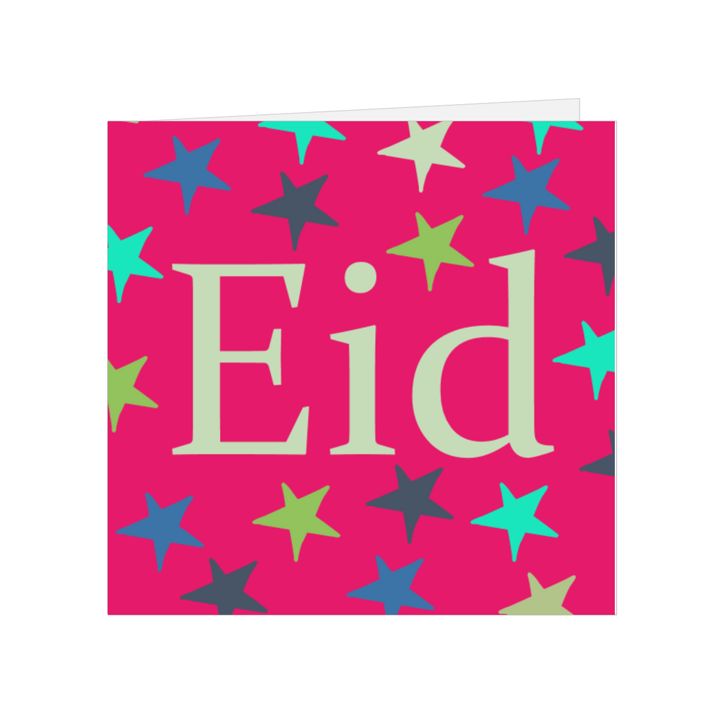 Elaara Eid Mubarak Star Greeting Card - Pink