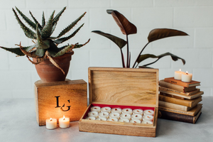 Small Timber Cigar Box & Spa Tealights - Light & Glo. Designs