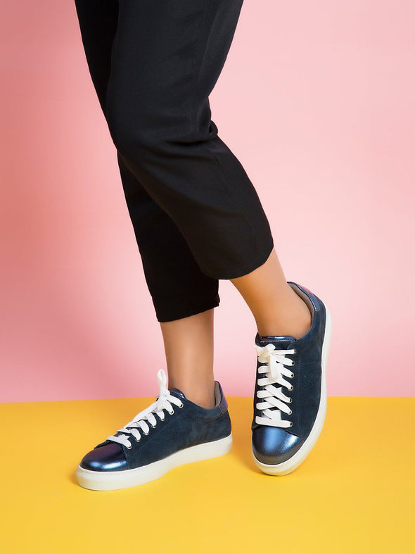 Selena Metallic Toe Cap Sneakers (Navy)