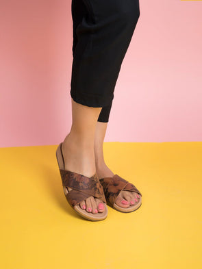 Abby Slides (Cognac Flower)