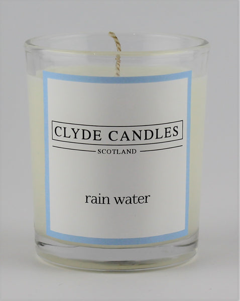 rain water  wedding votive candle, clyde candles, scottish candles, hand made in scotland, natural soy wax