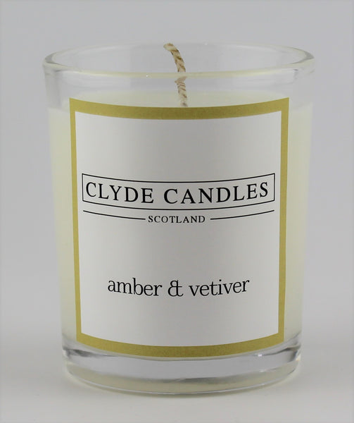 amber & vetiver  wedding votive candle, clyde candles, scottish candles, hand made in scotland, natural soy wax