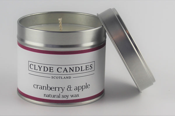 Cranberry & Apple Tin  Natural Soy wax, Scottish Candles, Clyde Candles