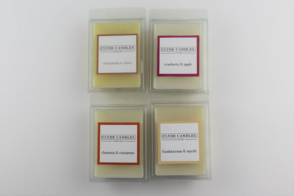 four wax melt gift set, clyde candles, scottish candles, gifts, natural soy wax, christmas gifts