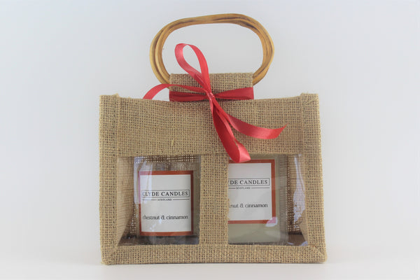 Clyde Candles Votive & Wax Melt Gift Set - Chestnut & Cinnamon Natural Soy Candle, Vegan friendly