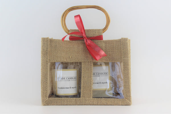 Clyde Candles Votive & Wax Melt Gift Set - Frankincense & Myrrh Natural Soy Candle, vegan friendly