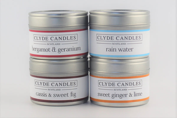 Clyde Candles 4 Small Natural Soy Candle Tins Gift Set - Fresh Pack , scottish gifts