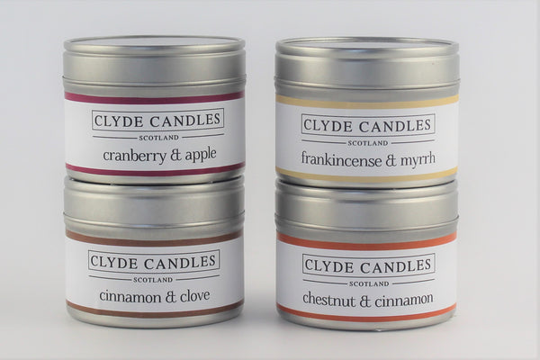 Clyde Candles 4 Small Natural Soy Candle Tins Gift Set - winter pack, scottish gifts