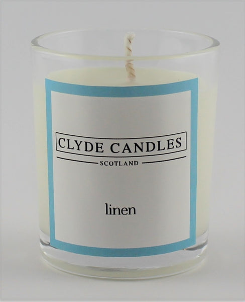 Linen  wedding votive candle, clyde candles, scottish candles, hand made in scotland, natural soy wax