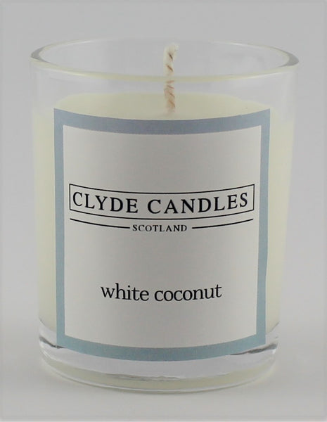 White Coconut  wedding votive candle, clyde candles, scottish candles, hand made in scotland, natural soy wax