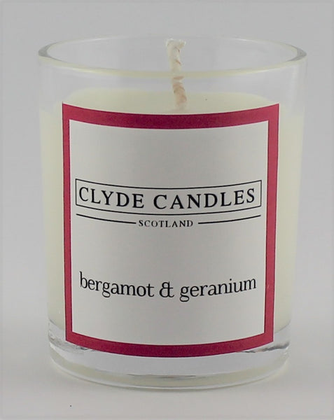 Bergamot & Geranium wedding votive candle, clyde candles, scottish candles, hand made in scotland, natural soy wax