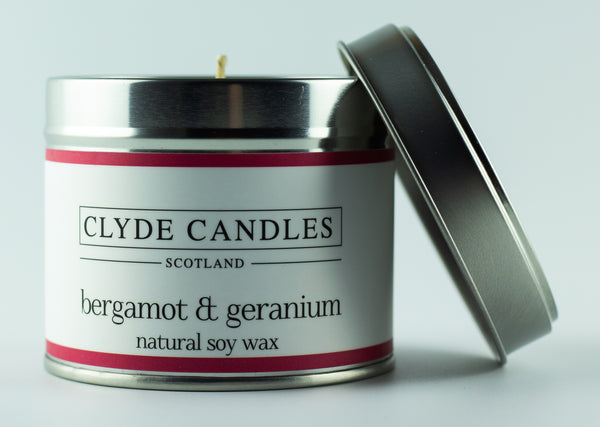 Bergamot & Geranium Scented Candle Tin, Natural Soy wax, Scottish Luxury Gift Candles, Clyde Candles