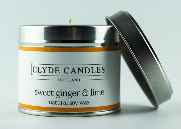 Sweet Ginger & Lime Scented Candle Tin, Natural Soy wax, Scottish Luxury Candles, Clyde Candles
