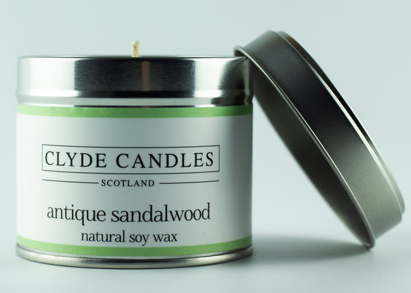 Antique Sandalwood Scented Candle Tin, Natural soy wax, Scottish Luxury Candles, Clyde Candles