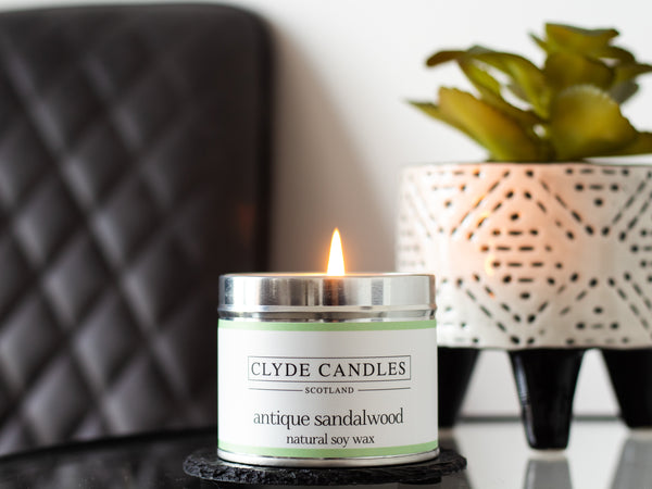 Antique Sandalwood Scented Candle Tin, Natural soy wax, Scottish Candles, Clyde Candles