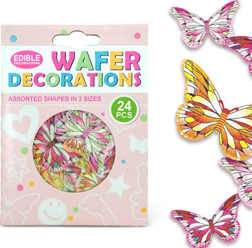 009 Precut Mariposas 3 size 24 pcs Edible Wafer Paper Butterflies