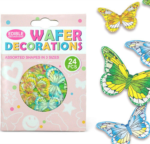 010 Precut Mariposas 3 size 24 pcs Edible Wafer Paper Butterflies