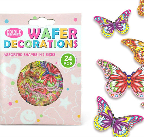 011 Precut Mariposas 3 size 24 pcs Edible Wafer Paper Butterflies