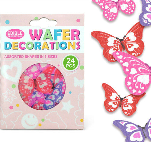 013 Precut Mariposas 3 size 24 pcs  Edible Wafer Paper Butterflies