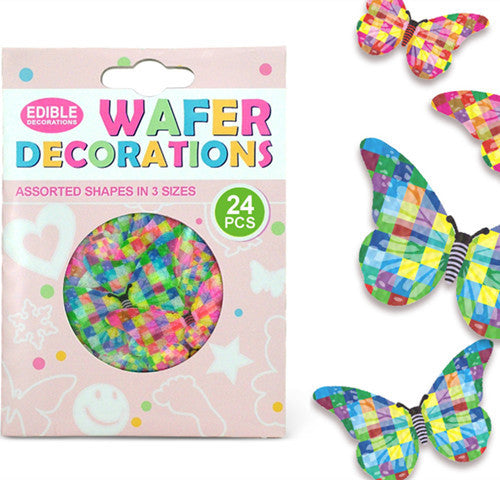 016 Precut Mariposas 3 size 24 pcs Edible Wafer Paper Butterflies