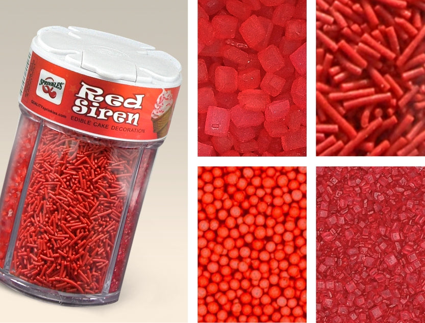 038 RED Natural Pearl Nonpareils Sprinkles 4in1 shaker cake decoration