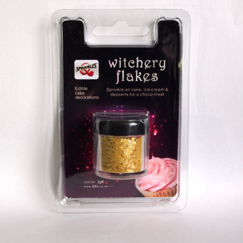058 Gold Edible Sugar Free all Natural Shimmer Glitter Witchery Flakes