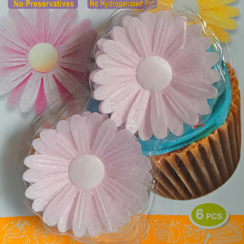 1703 Edible Sugar & Dairy product Free Light Pink Wafer Double Daisy flower