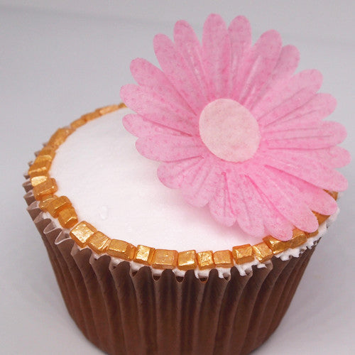 1770 Edible Sugar & Dairy product Free Pink Wafer Double Daisy flower
