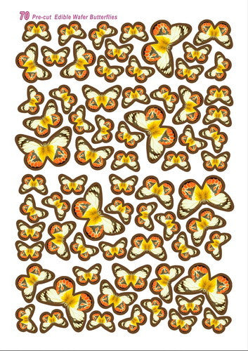 Edible Wafer Butterflies--vivid 10 precut wafer shapes