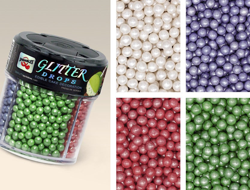 Glitter Drops 4 cell shaker-Nuts Gluten free Natural pearls sprinkles