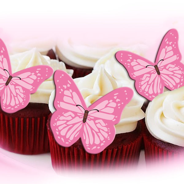 Precut Edible Wafer Gluten GMO Dairy Sugar Nut Soy Free Pink Butterfly