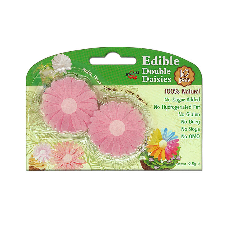 3D Edible Wafer Paper Pink Double Daisy Gluten GMO Dairy Sugar Nut Soy Free