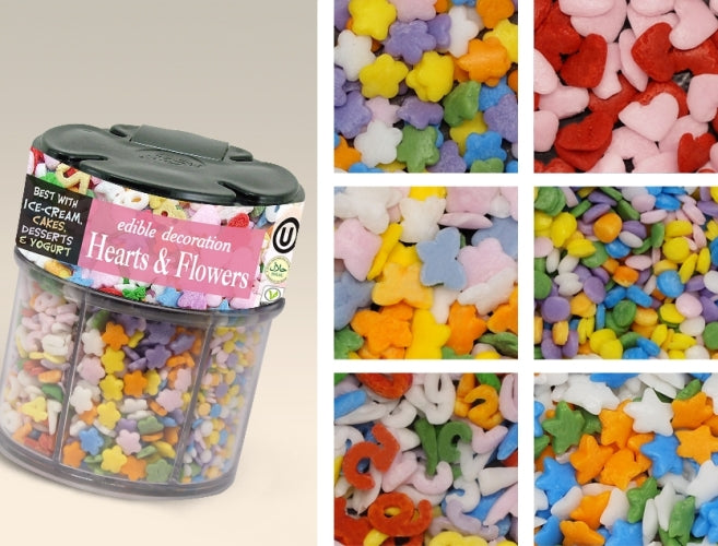 Natural Soy free Hearts & Flowers 6 cell shaker Edible Cake decorating