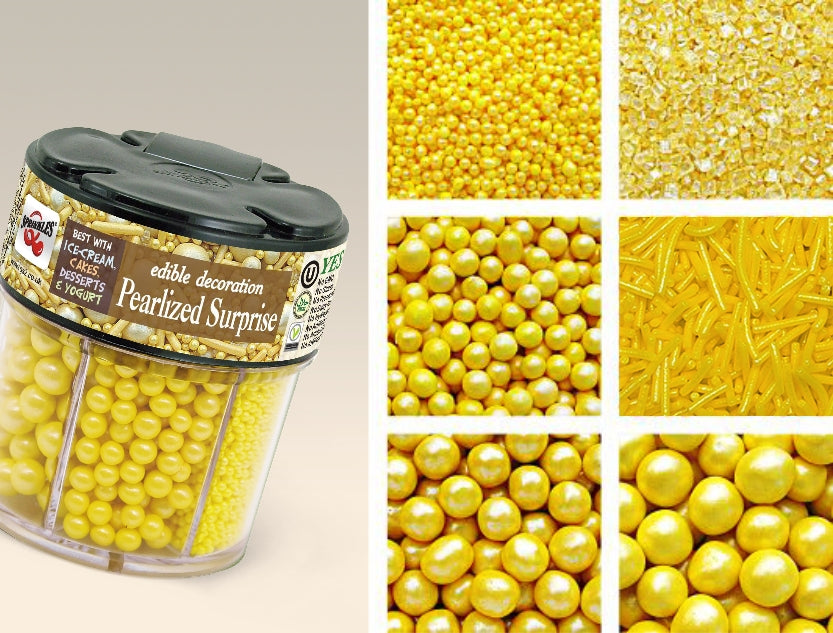 622 Pearlized Yellow 6 in 1 shaker SOY free NUTS free Cake decorations