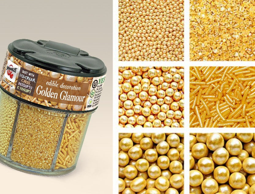 628 Golden Glamour 6 in 1 shaker Gluten and Dairy free Cake decoration