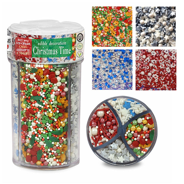 Christmas Time Dairy Gluten Soya Free Vegan Halal Kosher Natural Sprinkles Mix
