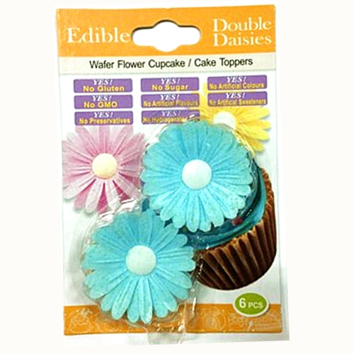 3D Edible Wafer Paper Gluten GMO Dairy Sugar Nut Soy Free Blue Double Daisy