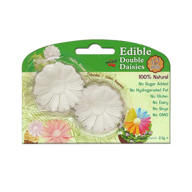 3D Edible Wafer Paper White Double Daisy Gluten GMO Dairy Sugar Nut Soy Free