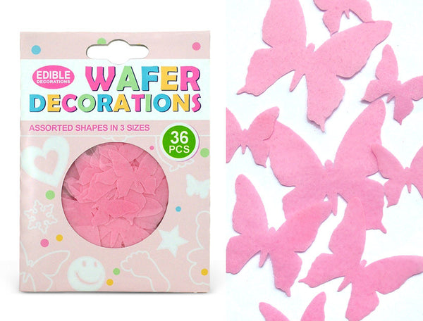 871 36 pcs 3 size wafer pink butterflies precut wafer shapes for cupcake cake decoration cake topper