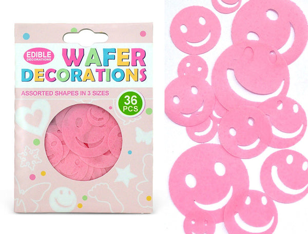 Precut Pink Edible Wafer Gluten GMO Dairy Sugar Soy Free smiley face
