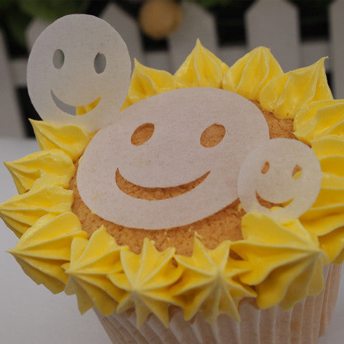 Precut White Edible Wafer Gluten GMO Dairy Sugar Soy Free smiley face