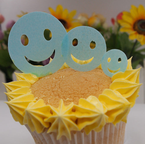 880 36 pcs 3 size wafer blue smiley face precut wafer shapes for cupcake cake decoration cake topper