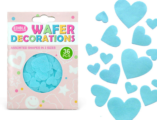 Precut Blue Edible Wafer Gluten GMO Dairy Sugar Nut Soy Free Heart