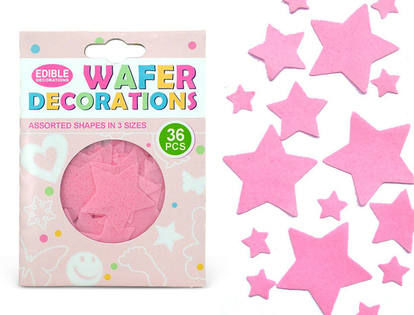 Precut Pink Edible Wafer Gluten GMO Dairy Sugar Nut Soy Free Star
