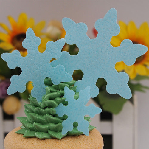 898 wafer blue snowflakes precut wafer shapes for cupcake cake decoration cake topper