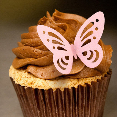 Precut Edible Wafer Gluten GMO Dairy Sugar Nut Soy Free white & Dark Pink Butterfly